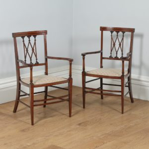 Antique Pair of English Edwardian Neoclassical Inlaid Mahogany Salon Armchairs (Circa 1900) - yolagray.com