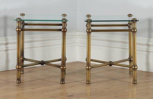 Antique Pair of Art Deco Brass & Glass Side Tables (Circa 1920) - yolagray.com