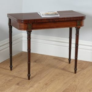 Antique English Georgian Regency Mahogany & Brass Card Table (Circa 1810) - yolagray.com