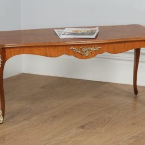 Antique French Louis XVI Style Burr Walnut Marquetry Inlaid Brass Coffee Table (Circa 1920) - yolagray.com