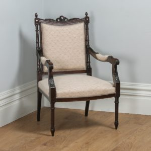 Antique French Louis XVI Style Walnut Salon Occasional Armchair (Circa 1880) - yolagray.com