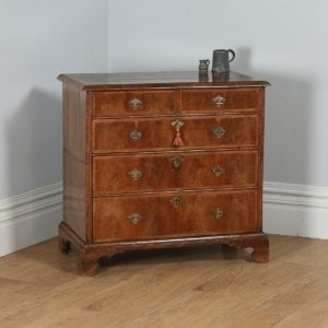 Antique English Queen Anne / Georgian Figured Walnut Two Piece Chest of Drawers (Circa 1710) - yolagray.com