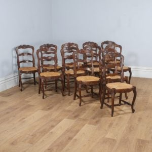 Antique Set of 12 French Louis XV Style Oak & Rush Seat Ladder Back Dining Chairs (Circa 1910) - yolagray.com