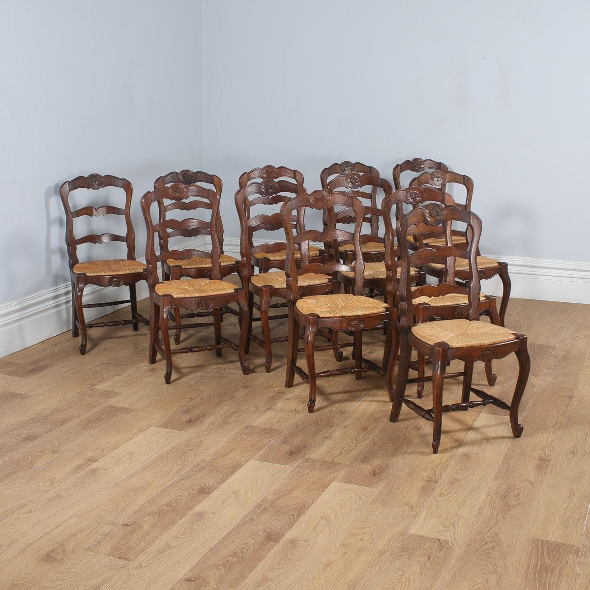 antique set of 12 french louis xv style oak ladder back kitchen