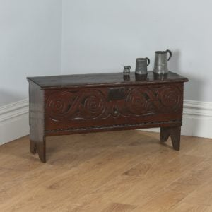 Antique Charles II English West Country Oak Six Plank Boarded Coffer (Circa 1660) - yolagray.com