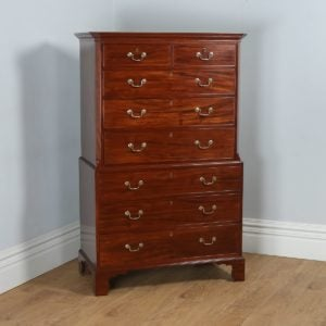Antique English Georgian Mahogany Tallboy Chest on Chest of Drawers (Circa 1780) - yolagray.com