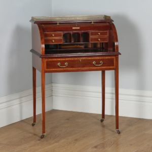 Antique English Edwardian Ladies Mahogany & Leather Cylinder Office Roll Top Writing Table / Desk (Circa 1900) - yolagray.com