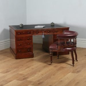 Antique English Victorian Mahogany & Leather Partners Pedestal Desk (Circa 1850) - yolagray.com