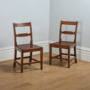Antique Pair of English Georgian Regency Elm & Oak Country Side Chairs (Circa 1815) - yolagray.com