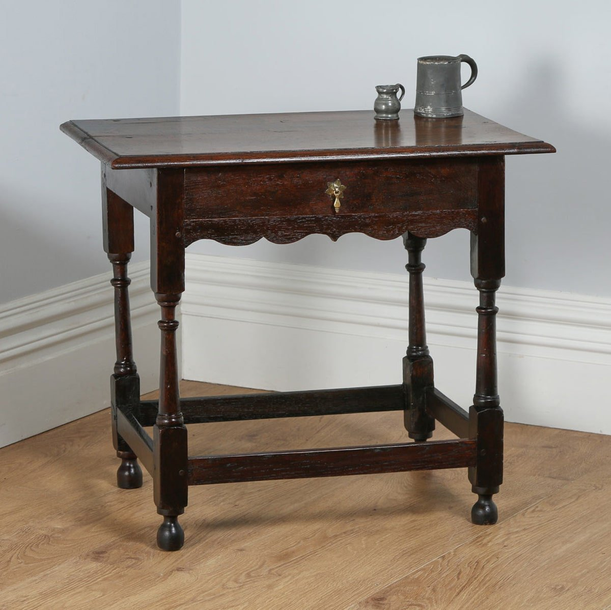 Antique English Georgian 18th Century Style Country Oak Side Table Circa 1860 Yolagray