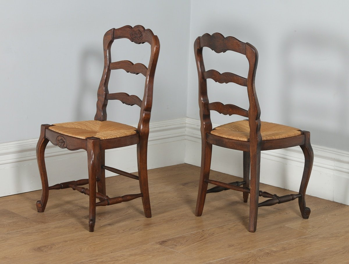 antique set of 12 french louis xv style oak ladder back kitchen dining chairs circa 1910. Black Bedroom Furniture Sets. Home Design Ideas