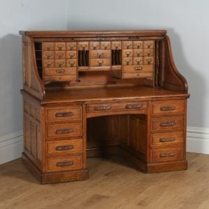 Antique English Victorian Oak Roll Top Pedestal Desk (Circa 1890) - yolagray.com