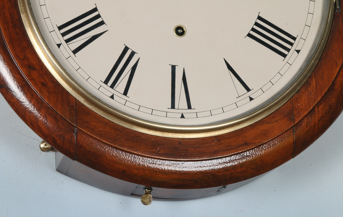 Antique 16 mahogany anglo swiss railway station school round dial wall clock timepiece - Swiss railway wall clock ...