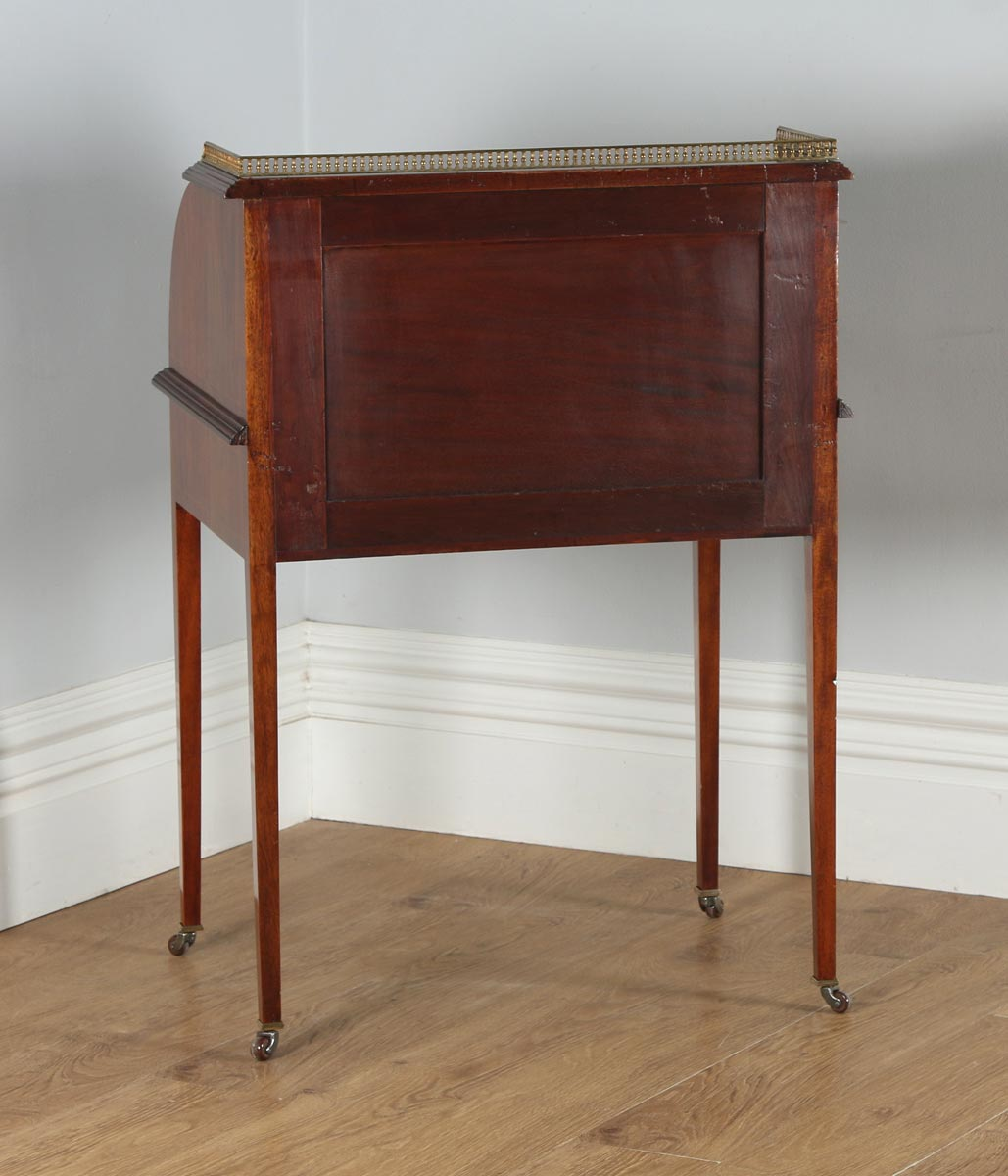 Antique English Edwardian Las Gany Leather Cylinder Office Roll Top Writing Table Desk