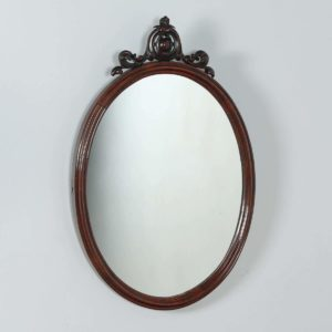 Antique English Victorian Mahogany Oval Wall Portrait Mirror (Circa 1850)- yolagray.com
