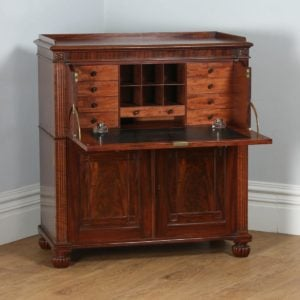 Antique English Regency Flame Mahogany Secretaire by Gillows of Lancaster (Circa 1830) - yolagray.com