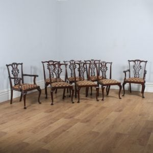 Antique Set of 8 English Georgian Chippendale Style Mahogany Dining Chairs By Waring and Gillows (Circa 1910)- yolagray.com
