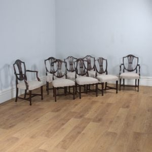 Antique Set of 8 English Georgian Hepplewhite Style Mahogany Dining Chairs (Circa 1850)- yolagray.com