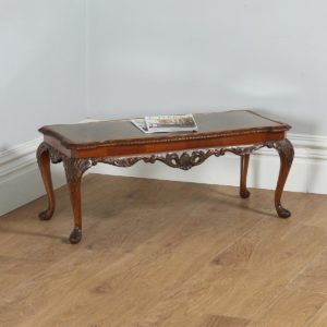 Antique English Queen Style Carved Burr Walnut & Glass Rectangular Coffee Table (Circa 1920)- yolagray.com