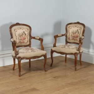 Antique Pair of French Louis XV Style Walnut & Tapestry Salon Open Armchairs (Circa 1920)- yolagray.com