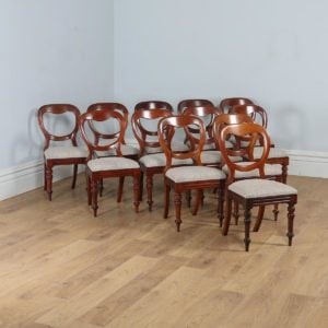 Antique English Victorian Set of 12 Mahogany Balloon Back Dining Chairs (Circa 1860) - yolagray.com