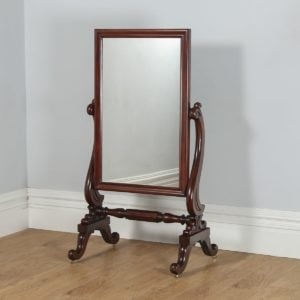 Antique English Victorian Mahogany Floor Standing Rectangular Cheval / Dressing Mirror (Circa 1860)- yolagray.com