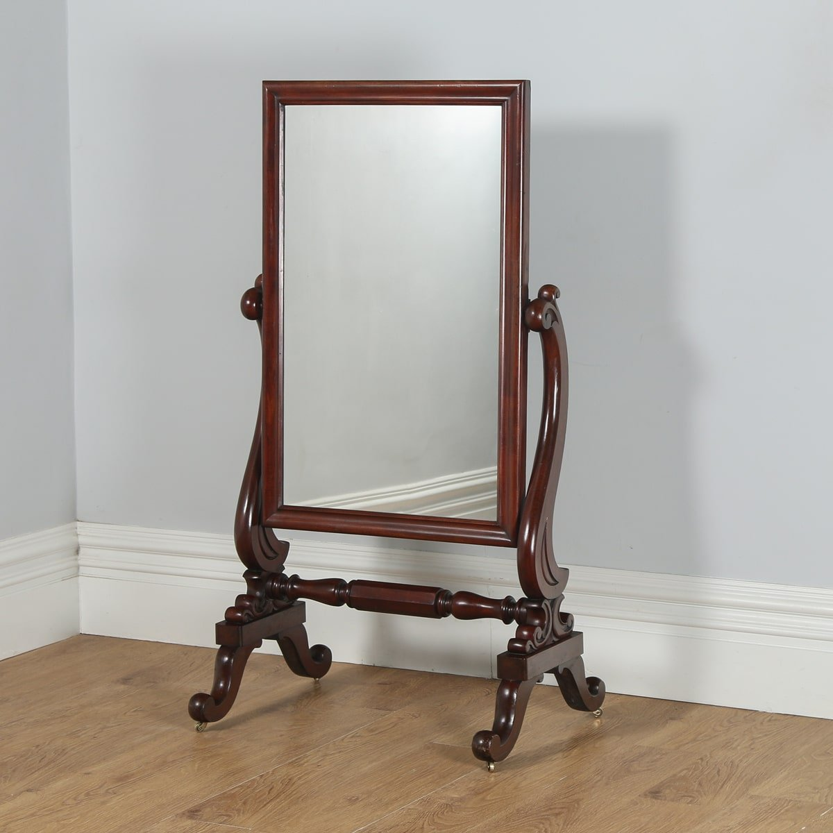 Antique mahogany floor mirror