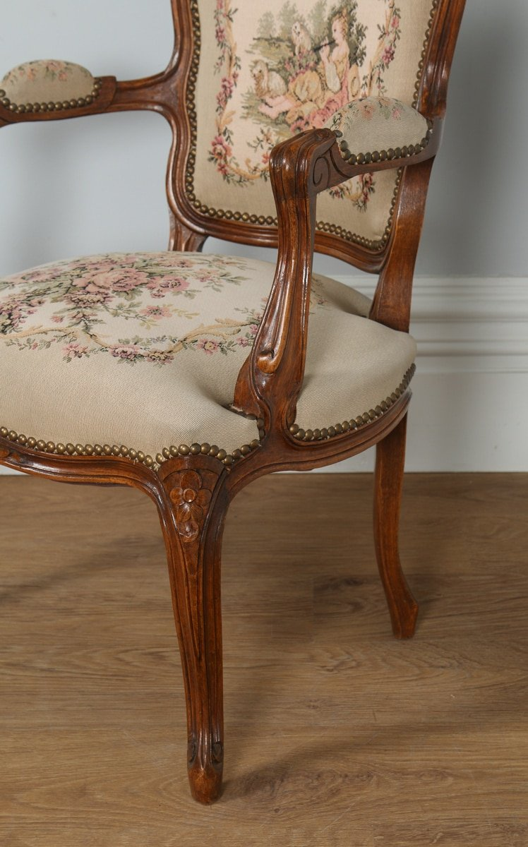 Antique Pair of French Louis XV Style Walnut & Tapestry Salon ...