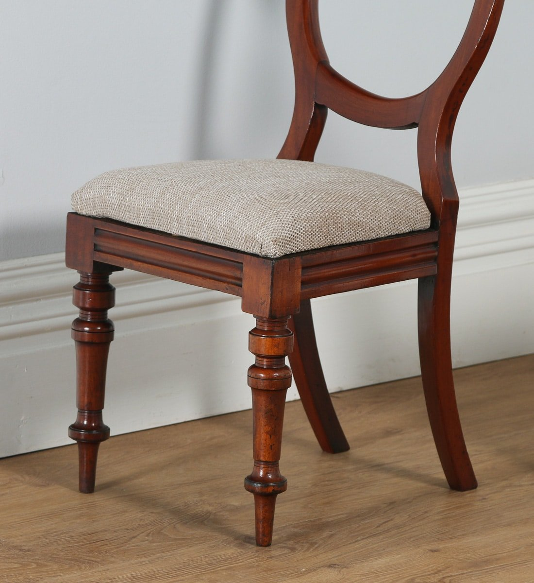 Antique english victorian set of 12 mahogany balloon back for Furniture kelsall