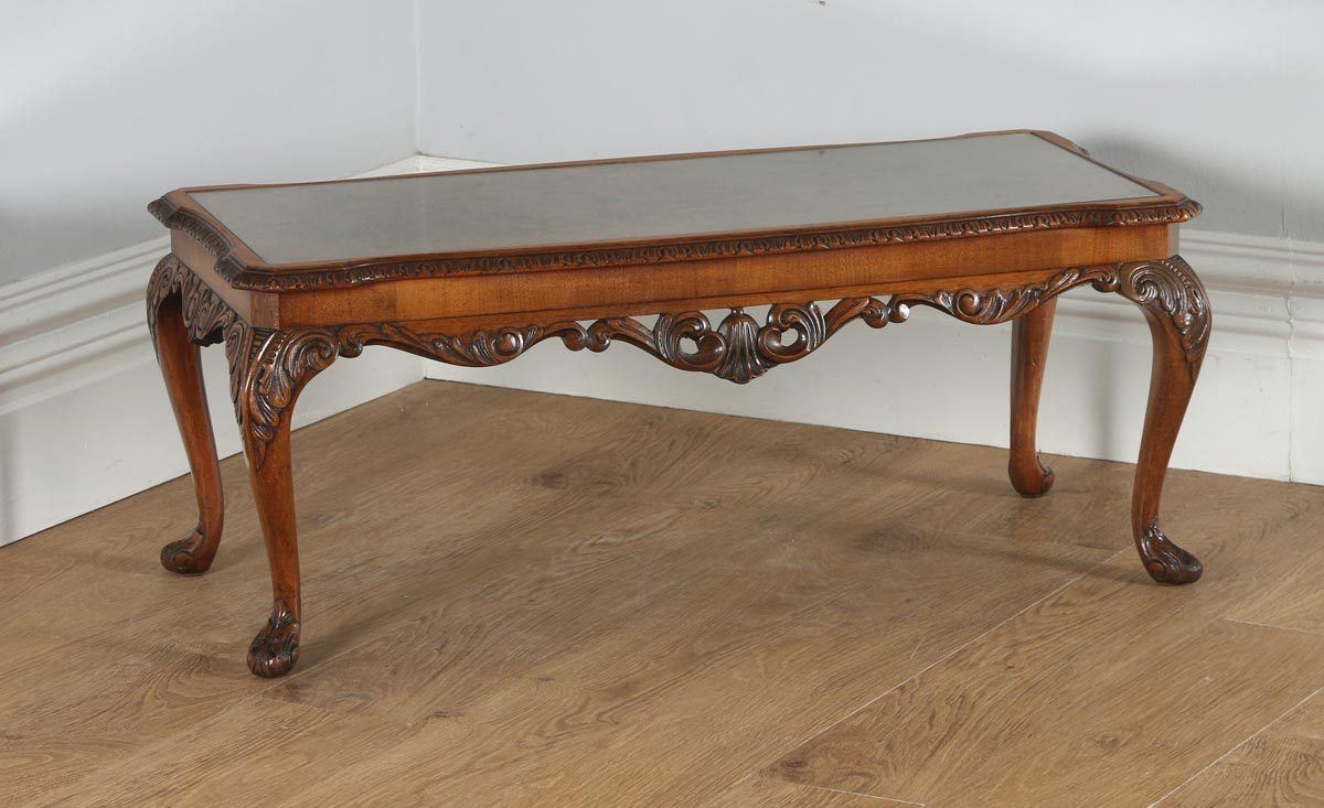 Antique English Queen Anne Style Carved Burr Walnut Glass Coffee Table Circa 1920 Antique