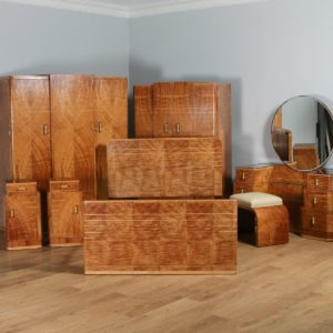 Antique English Art Deco Six Piece Satinwood & Maple Bedroom Suite (Circa 1930) - yolagray.com