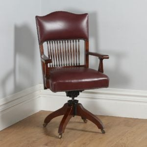 Antique English Edwardian Oak & Red Leather Revolving Office Desk Armchair (Circa 1910)- yolagray.com