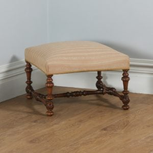 Antique French Duchess Walnut Upholstered Carolean Style Foot Stool Poof (Circa 1870)- yolagray.com