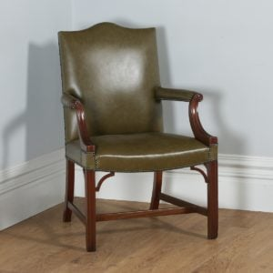 Antique Georgian Gainsborough Style Mahogany & Green Leather Office Desk Armchair (Circa 1920)- yolagray.com