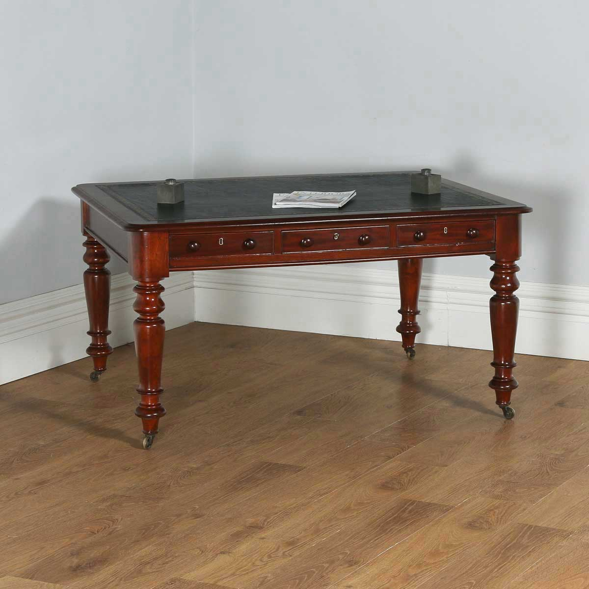 Antique English Victorian 4ft 6u201d Mahogany U0026 Leather Library Table Desk  (Circa1860)