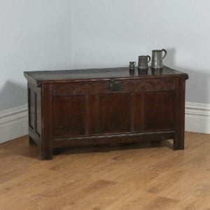 Antique Charles II English Home Counties Oak Joined Coffer Blanket Chest (Circa 1680)- yolagray.com