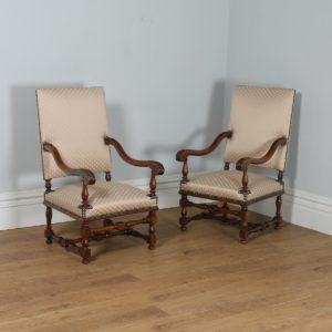 Antique Pair of French Walnut Fauteuil Hall Armchairs (Circa 1870)- yolagray.com