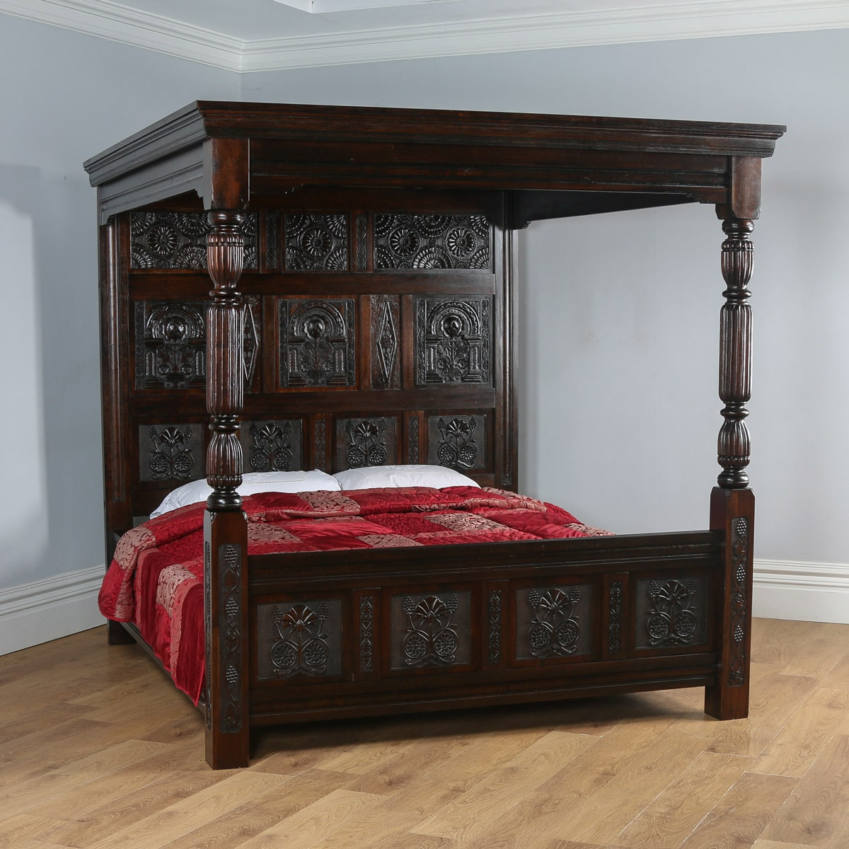 Tudor Style Carved Super King Oak Full Tester Four Poster