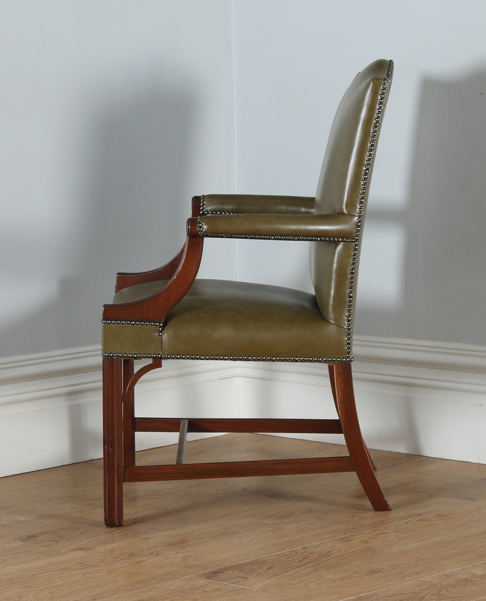 Astonishing Antique Gainsborough Style Mahogany Green Leather Armchair Machost Co Dining Chair Design Ideas Machostcouk