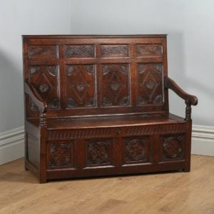 Antique English Georgian Oak High Back Panelled Box Settle (Circa 1800)- yolagray.com