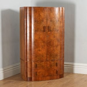 Antique English Art Deco Burr Walnut Two Door Bow Front Cloud Design Compactum Wardrobe (Circa 1930) - yolagray.com