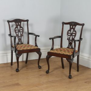 Antique English Pair of Chippendale Style Mahogany Library Office Desk Armchairs (Circa 1900)- yolagray.com
