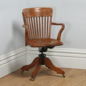Antique Edwardian Oak & Birch Revolving Swivel Captain's Office Desk Armchair (Circa 1900)- yolagray.com