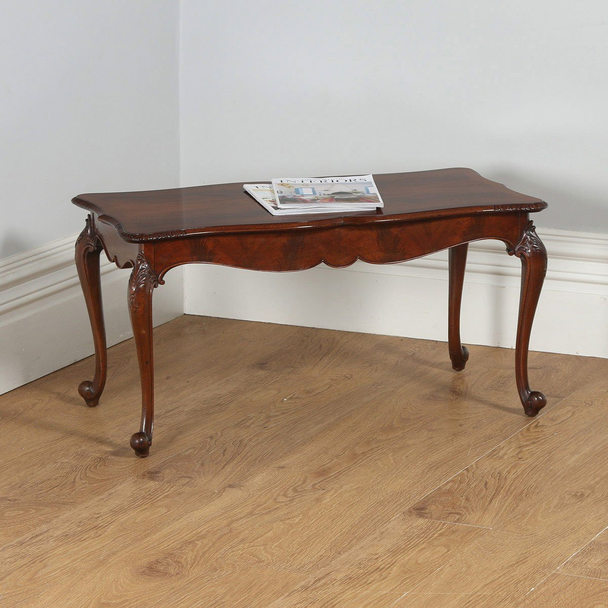 Antique English Queen Anne Style Carved Figured Walnut Rectangular Coffee  Table , yolagray.com