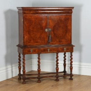 Antique English William & Mary Style Walnut Cabinet on Stand (Circa 1950)