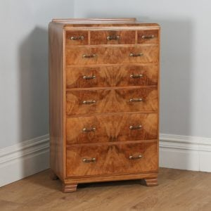 Antique English Art Deco Burr Walnut Chest of Drawers (Circa 1930)- yolagray.com