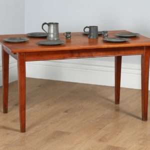 "Antique French 4ft 7"" Cherry Fruit Wood Refectory Kitchen Dining Table With Breadboard (Circa 1850)- yolagray.com"