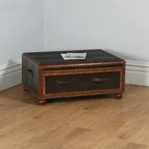 Vintage English Brown Leather Suitcase / Trunk Shaped Coffee Table (Circa 1980)- yolagray.com