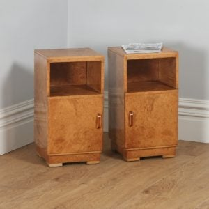 Antique Pair of English Art Deco Birds Eye Maple Bedside Cabinets (Circa 1930)