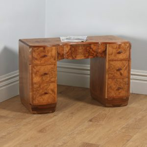 Antique English Art Deco Burr Walnut Serpentine Office Desk (Circa 1930) - yolagray.com
